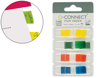 BANDERITAS SEPARADORAS Q-CONNECT DISPENSADOR 4 COLORES 36 HOJAS POR COLOR