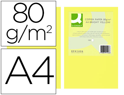PAPEL COLOR Q-CONNECT DIN A4 80GR AMARILLO INTENSO PAQUETE DE 500 HOJAS