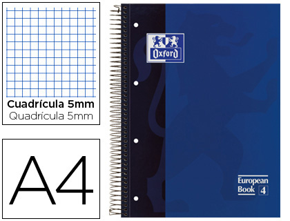 BLOC ESPIRAL OXFORD TAPA EXTRADURA MICROPERFORADO DIN A4 80 HOJAS CUADROS 5MM -COLOR AZUL